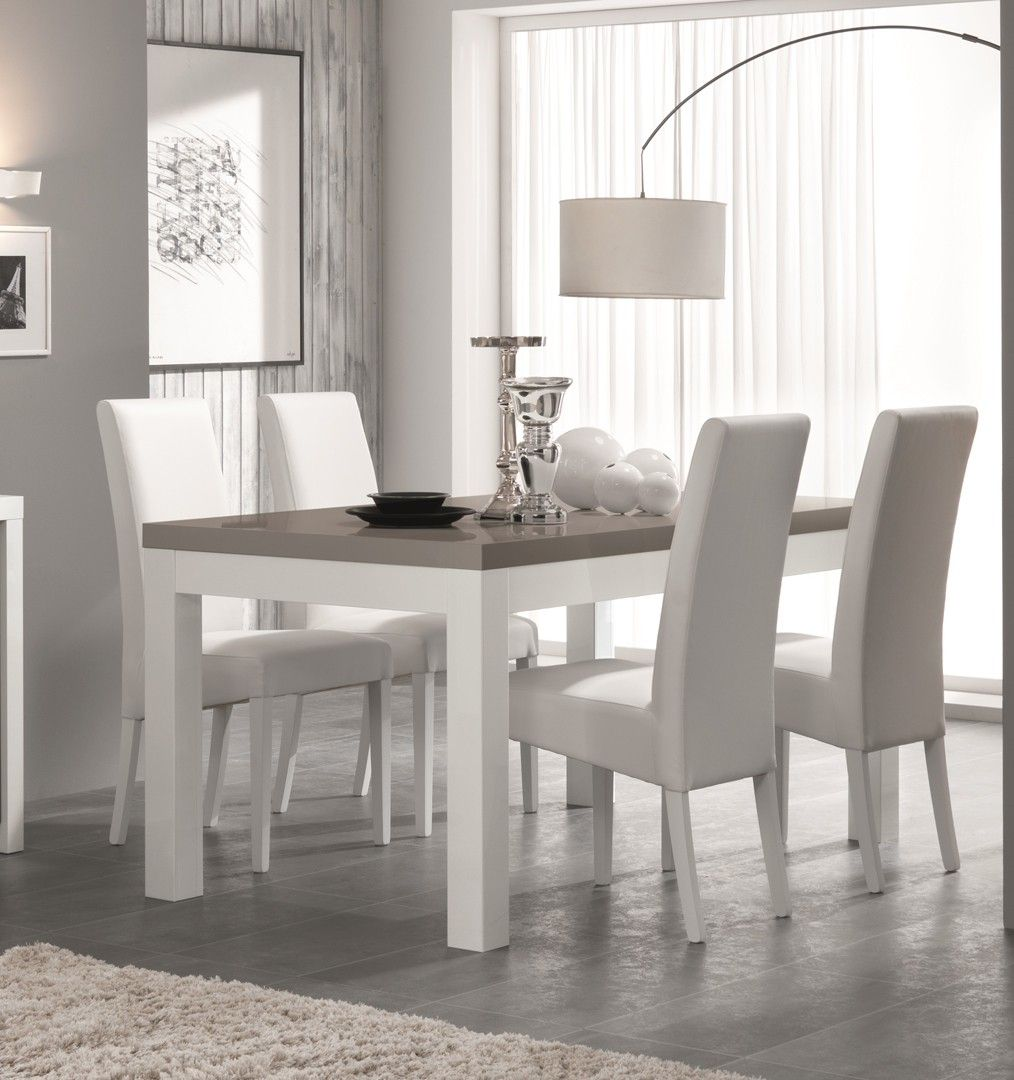 Table de salle manger design laqu e blanc gris agadir for Ensemble table et chaise blanc laque pas cher