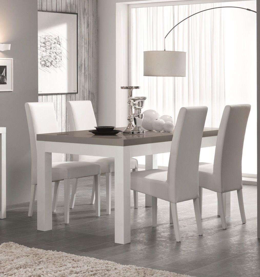 Table De Salle A Manger Design Laquee Blanc Gris Agadir Matelpro