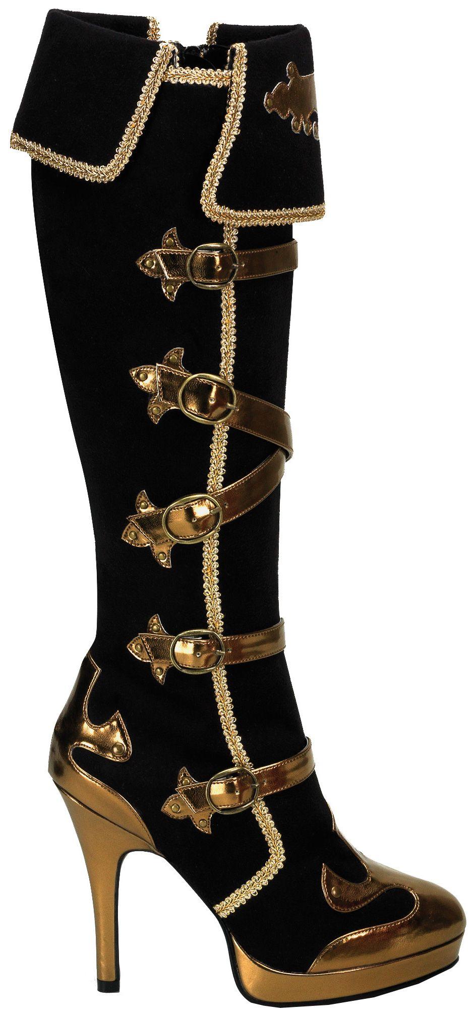 Negro Pirata Botas Traje Zapatos Tamaño 7