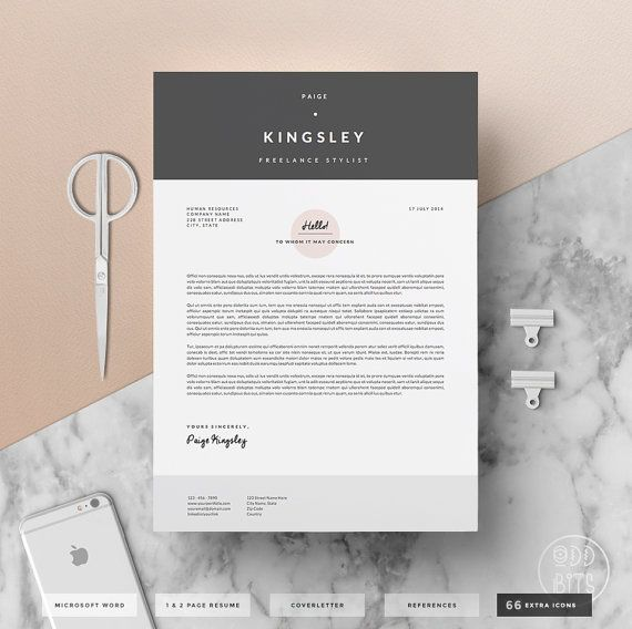 Professional Resume Template For Word    Page By Oddbitsstudio