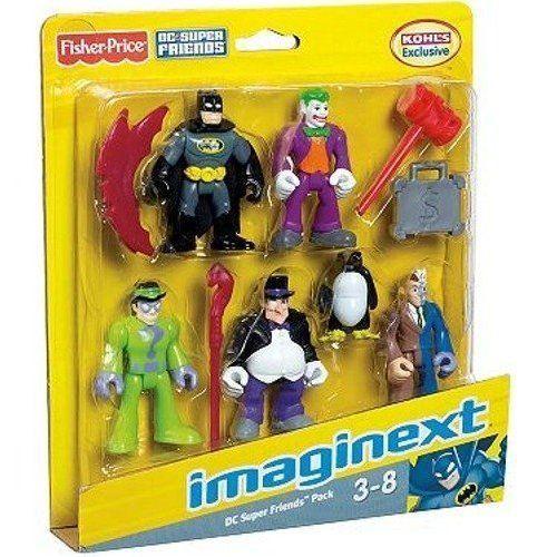 Imaginext DC Super Friends Exclusive 5-Pack. Batman character figures offer hours of action-packed, imaginative play. Batman character figureExcluisive Set includes: Batman, Robin, JokerTM, PenguinTM & Two-Face figures with accessories.