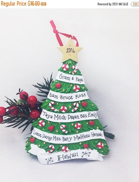 25 Off Large Family Christmas Tree Ornament Up By Adornamentsny Personalized Ornaments Personalized Christmas Ornaments Family Ornament