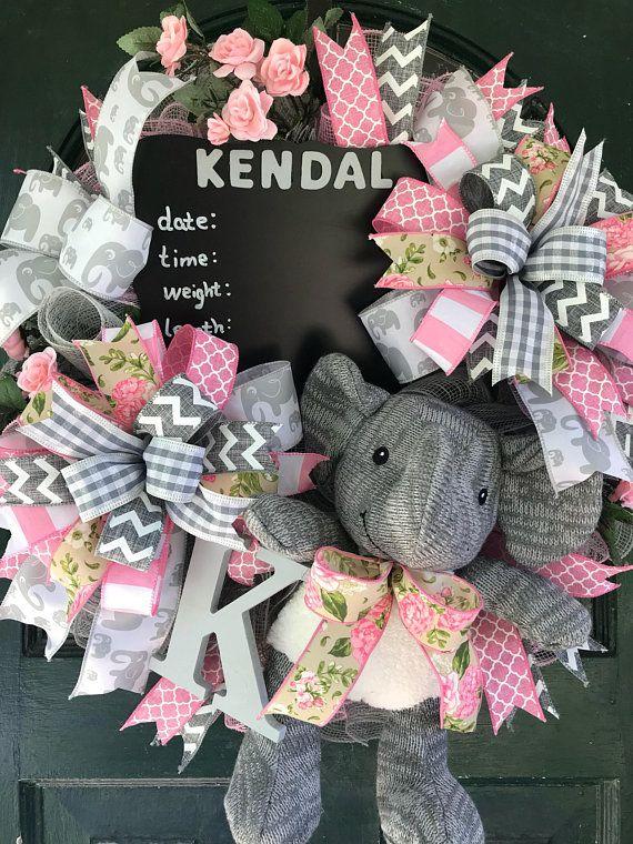 Elephant Theme Baby Wreath Hospital Birth Announcement
