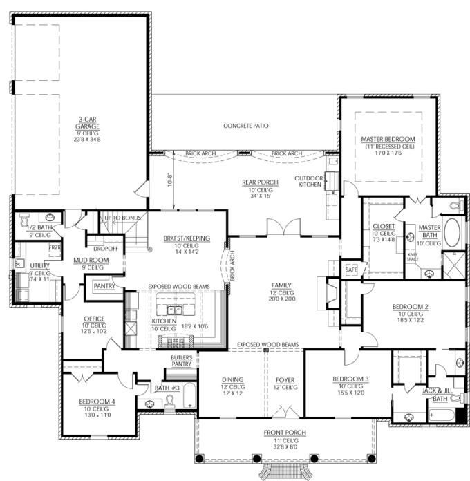 Fabulous Country Homes Exterior Design Home 1cg Large: Great Country French Plan With Outdoor
