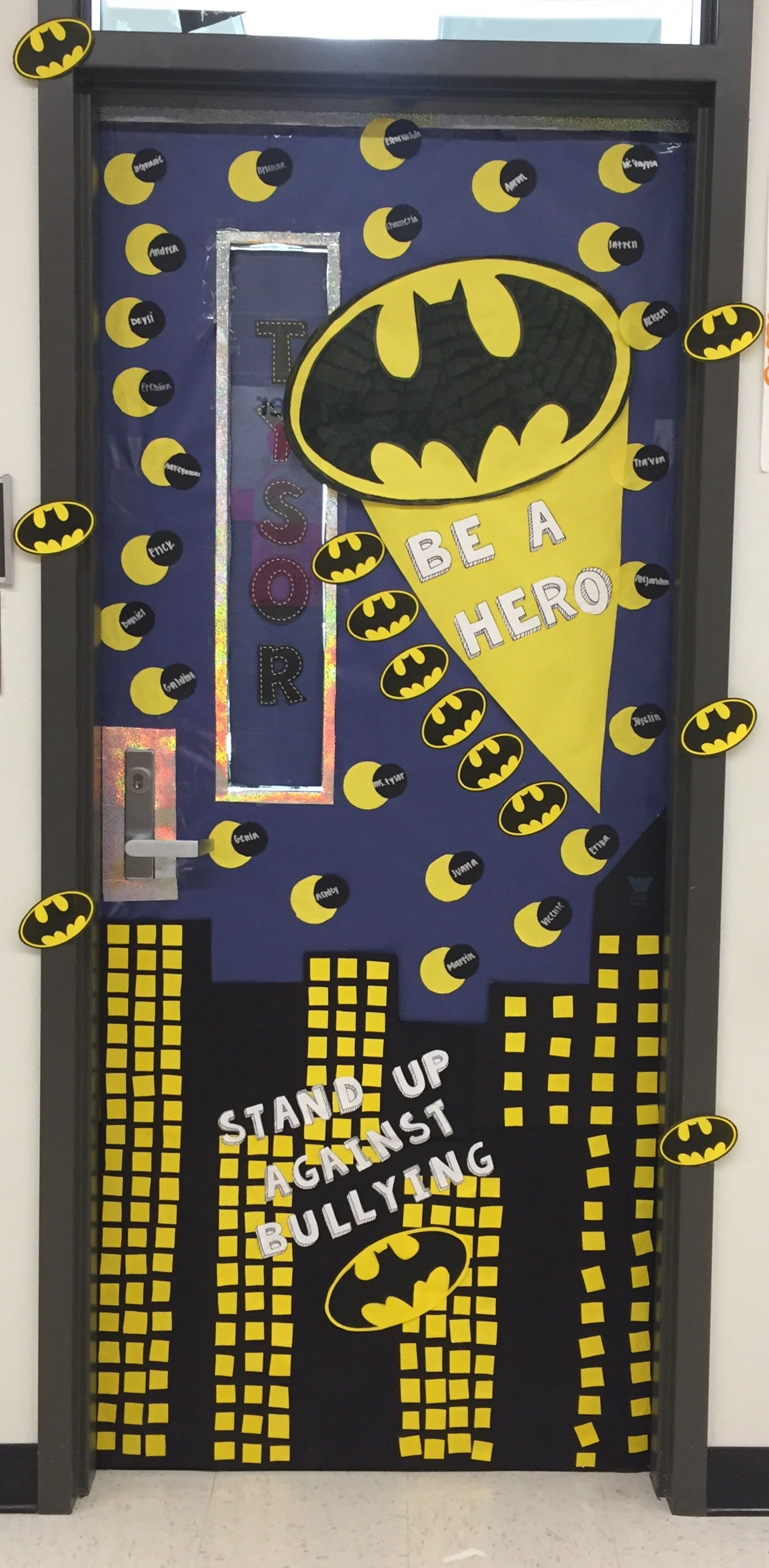 Anti bullying week door decoration Batman.