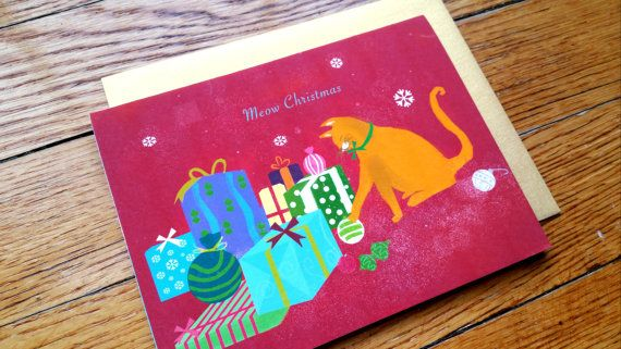 Set of 10: Orange Cat Christmas Card by loveofdrawing on Etsy