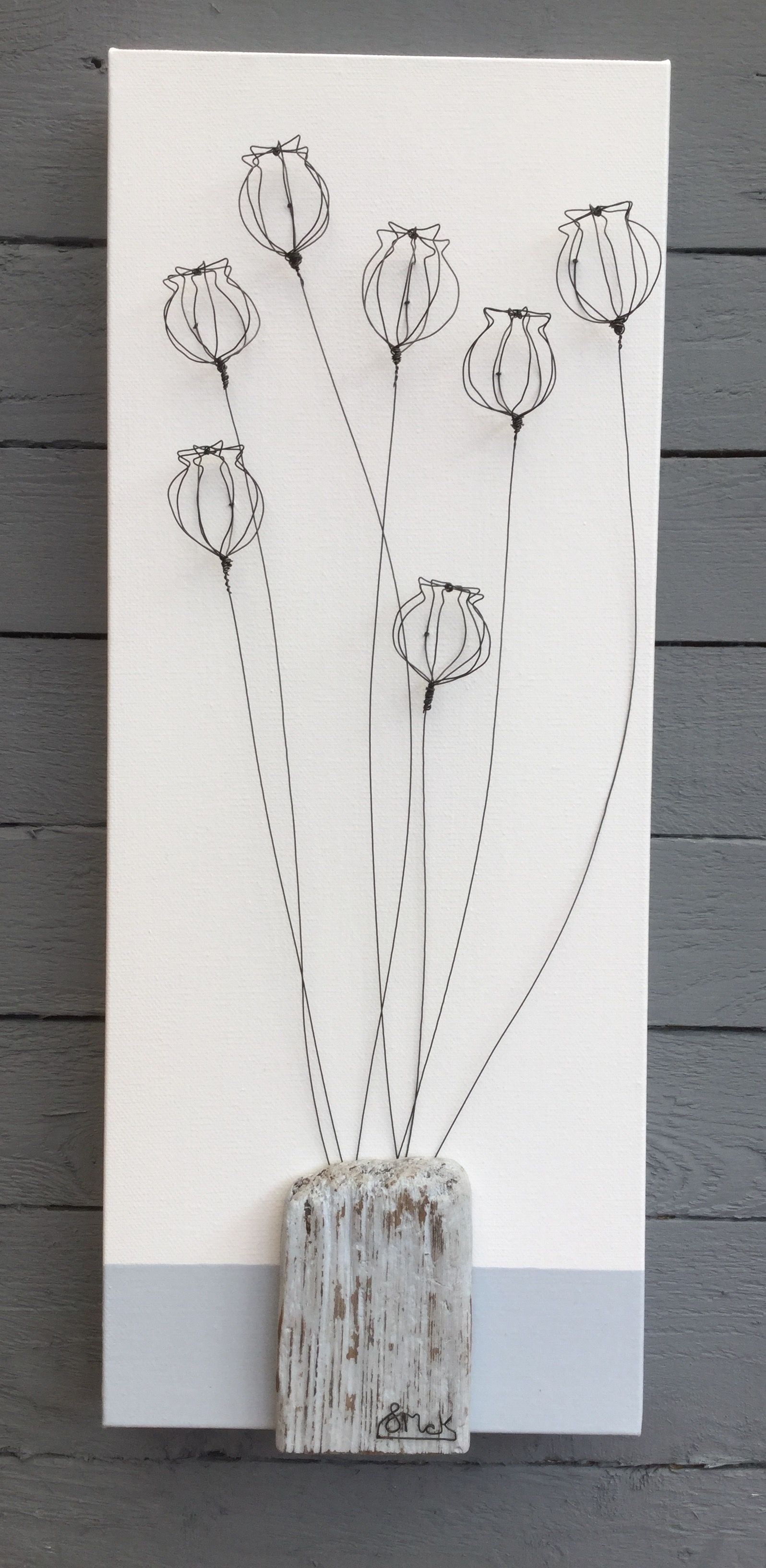 Hand formed 3D wire poppy heads with driftwood | Wild Grey Art ...