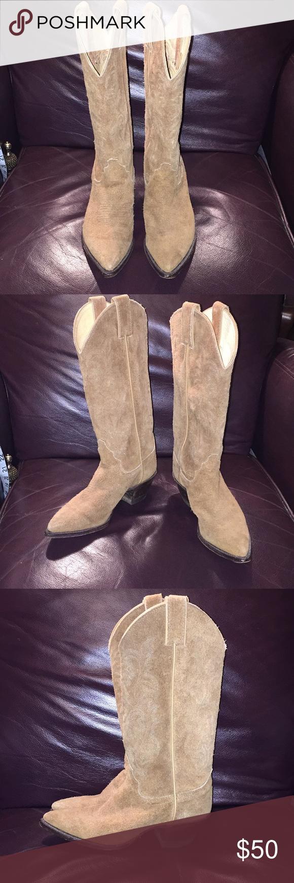 Made Sz 5 B tan suede cowboy boots