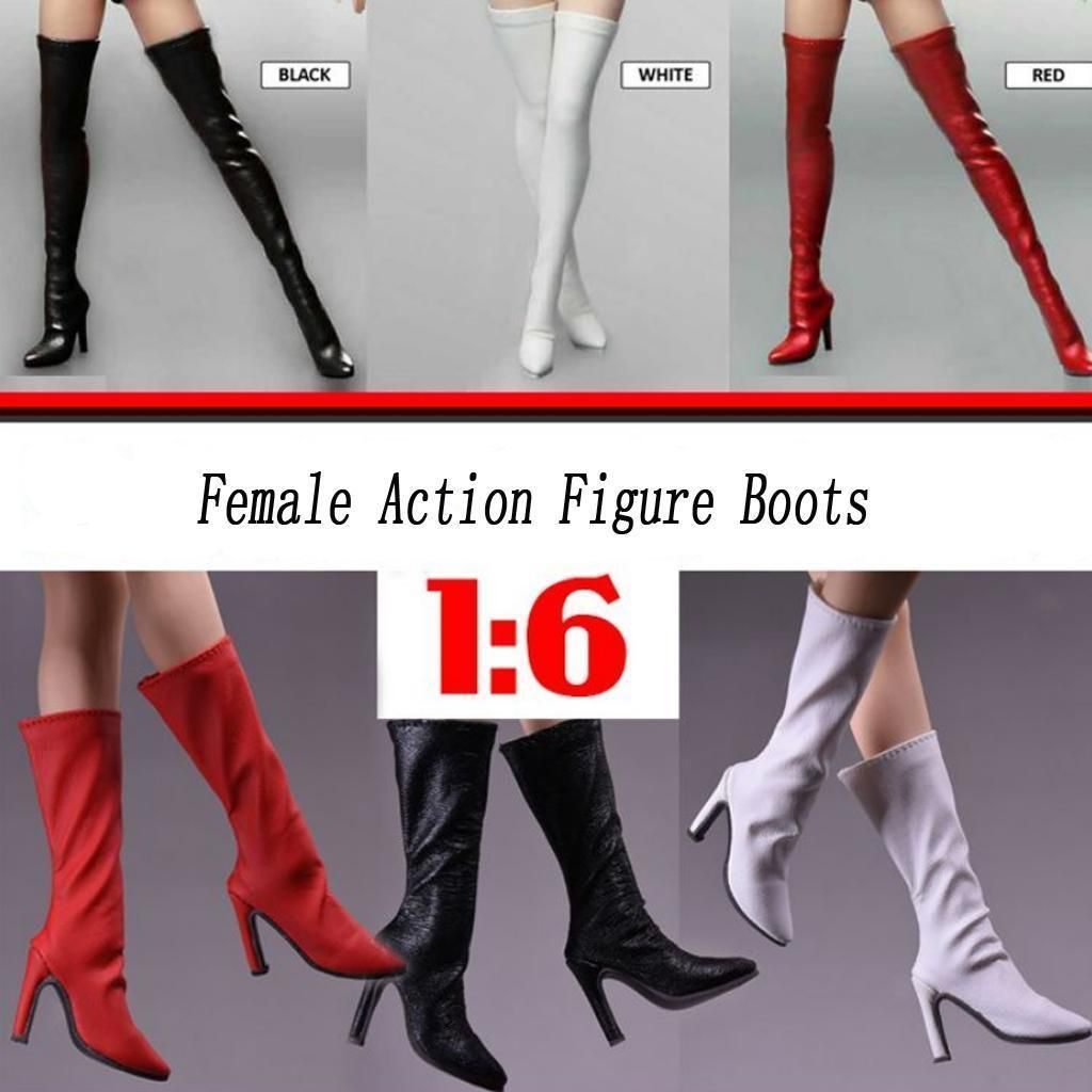 1//6 Scale Female Action Figure Boots Over the Knee Thigh High Shoes Red