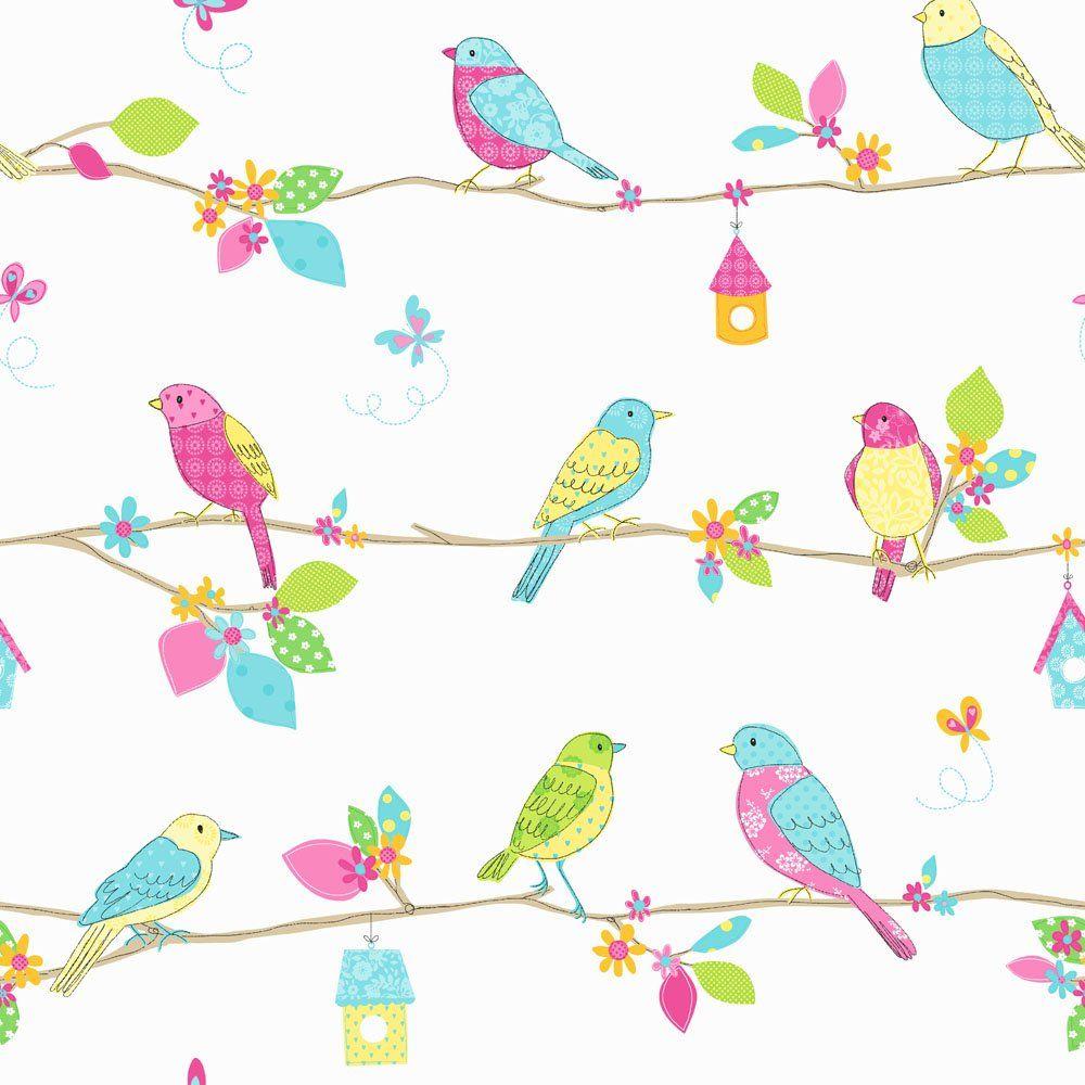Fine Decor Hoopla Pretty Birds Hoopla Wallpaper Blue White Beautiful Wallpaper For A Little Girls Bedroom