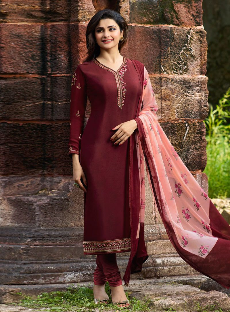 01aacaee9ce Buy Prachi Desai Wine Crepe Churidar Salwar Kameez 149407 online at lowest  price from huge collection of salwar kameez at Indianclothstore.com.