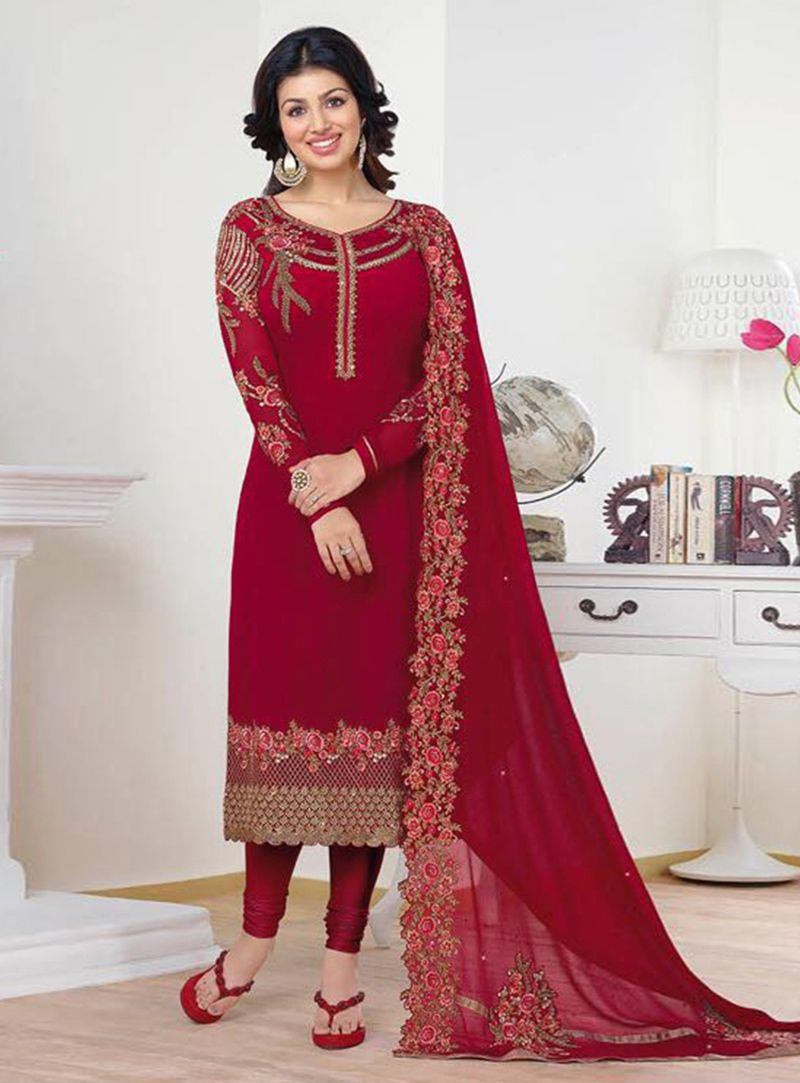 197b36d84a Ayesha Takia Red Georgette Churidar Salwar Suit 91386 | Muslim Women ...