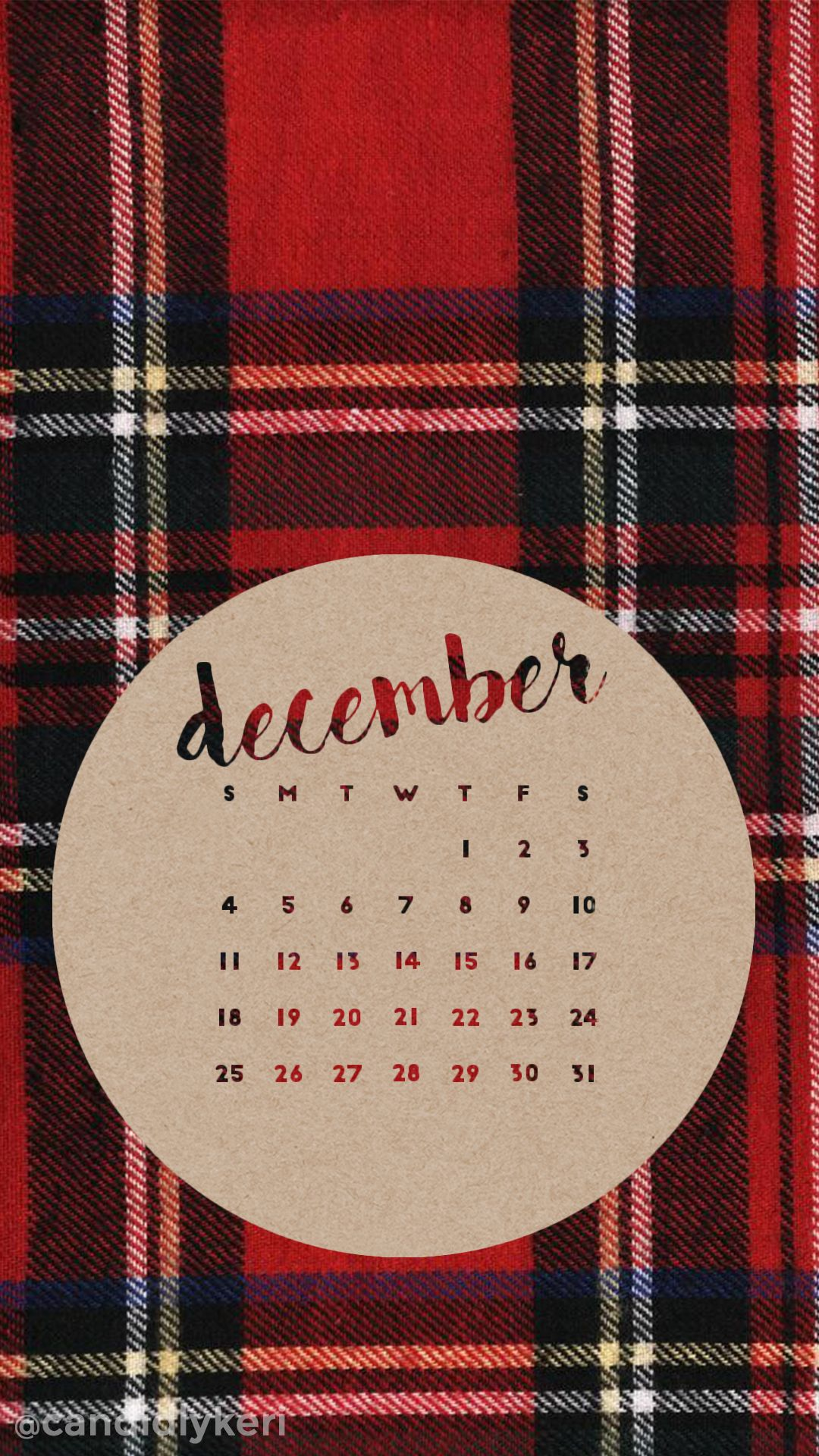Flannel red plaid December calendar 2016 wallpaper you can