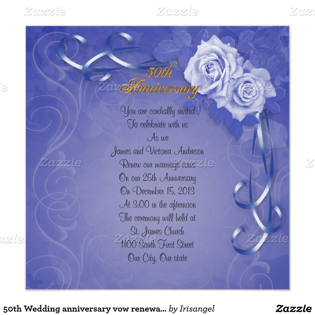 50th Wedding Anniversary Vow Renewal Blue Roses Card