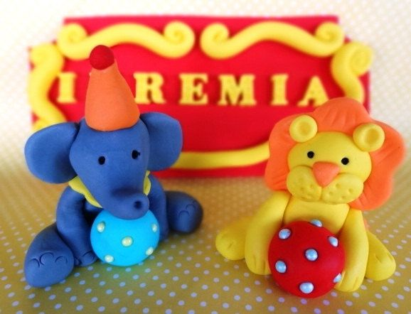 Elephant & Lion Circus Party Animals & Name Plaque 3D Edible Fondant Birthday Birthday Cupcake Cake Toppers by TopCakeDecors on Gourmly