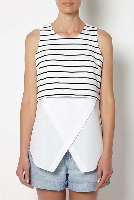 Stripe Crop Underlay Top