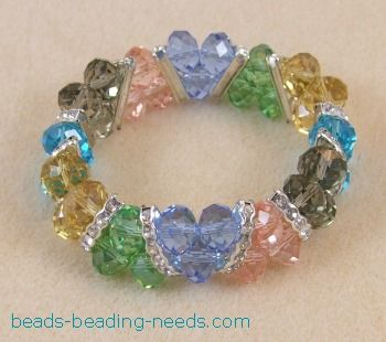Swarovski Crystal Stretch Bracelet That Is Easy Beading For Beginners,  These Beaded Bracelet Instructions Are