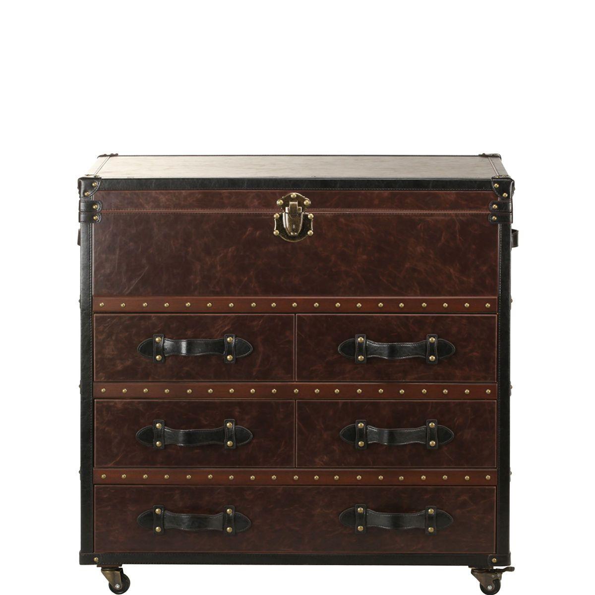 HEMINGWAY Koffer-Kommode mit Deckelfach und 5 Schubladen