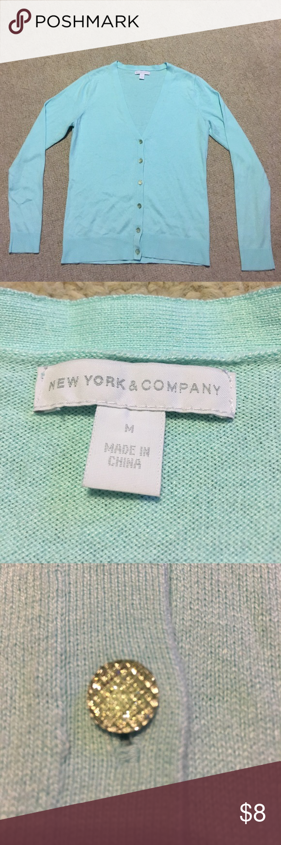 New York & Company button-down cardigan Light blue (Robins egg) New York & Company button-down cardigan. Size M and in great condition. New York & Company Sweaters Cardigans