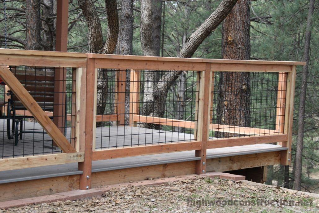 More click ... Hog Wire Deck Railing Houzz Concrete ...