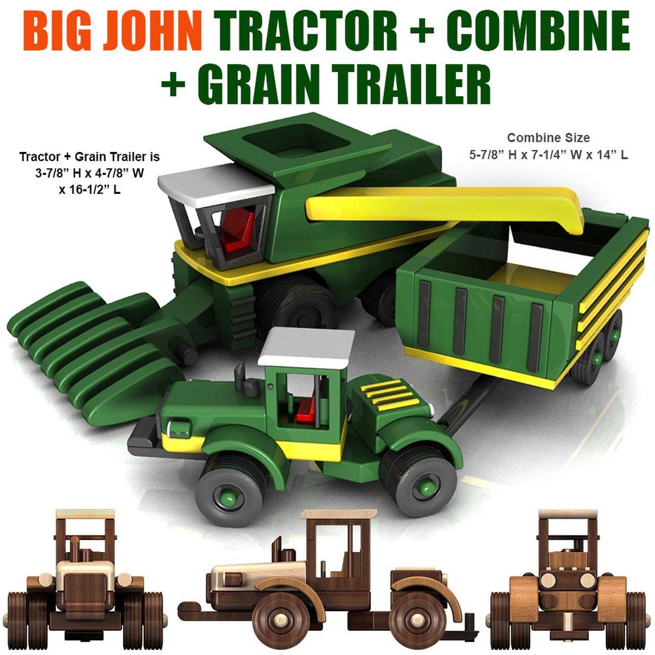 Big john farm tractor trailer combine wood toy plans