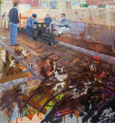 """Figurativo VI - El Trenecito / Collage + Acrílico 100 X 100 cm. Seleccionado en: Concurso Nacional Pintura """"El Piló""""  Burjassot – Valencia 2012"""