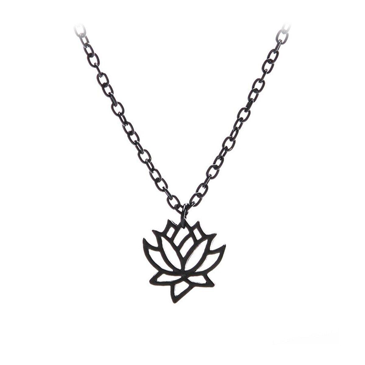 Black lotus outline pendant necklace lotus outline