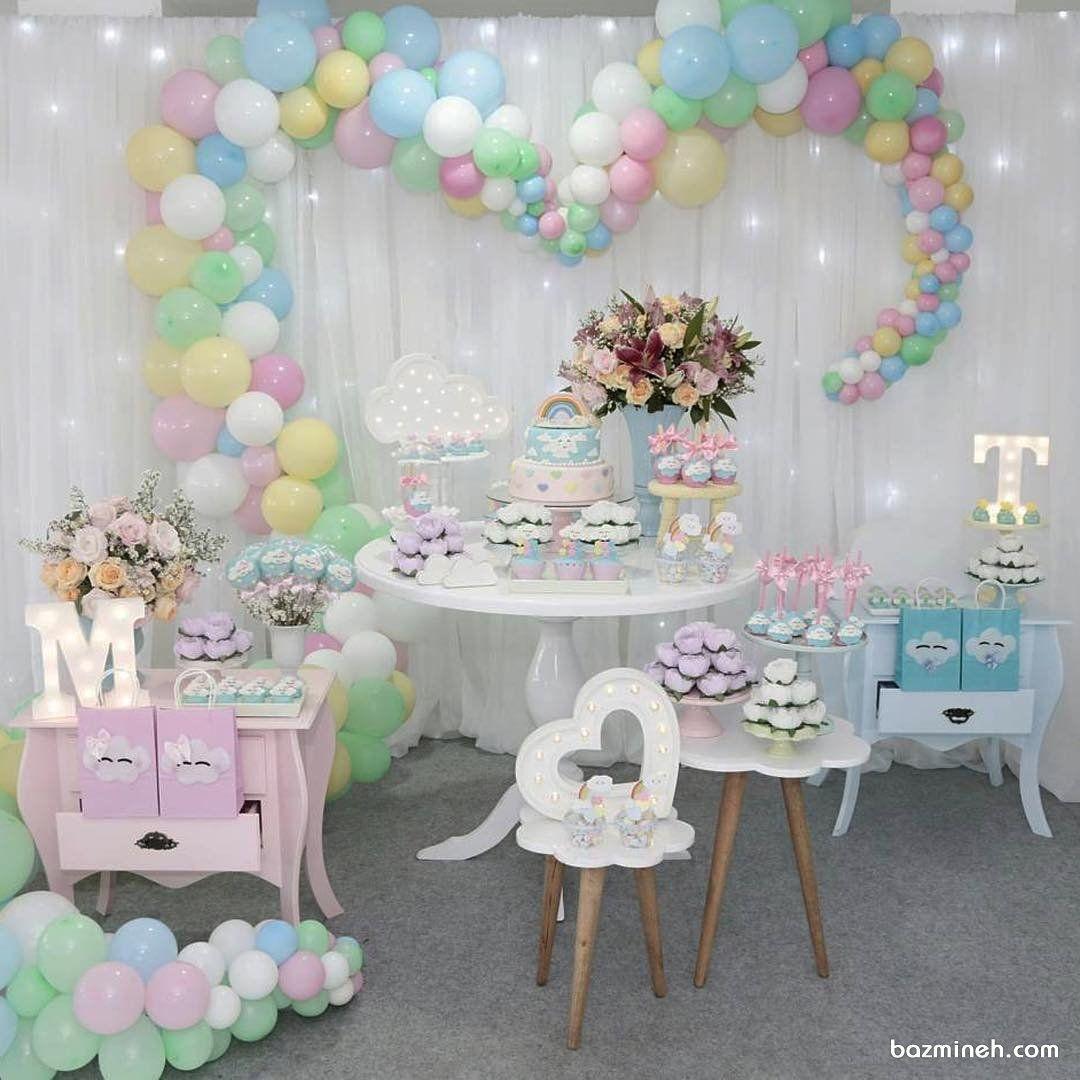 دکوراسیون و بادکنک آرایی جشن تولد کودک با تم ابر و رنگین کمان Birthday Decorations Baby Shower Baby Shower Cakes
