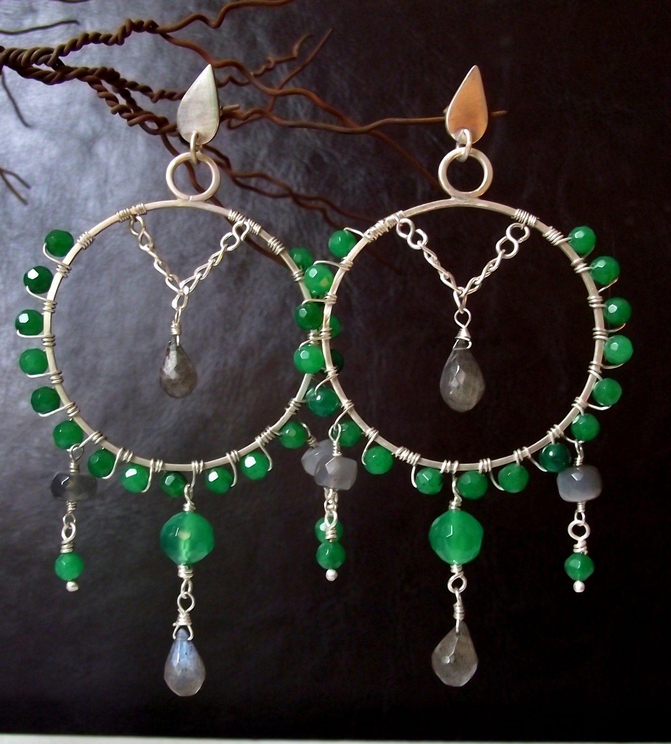 Aros Chandelier Jade Labradorita Y Plata Usd 68 34 000 Clp Hand Made Jewelry Jewelry Making Jewelry