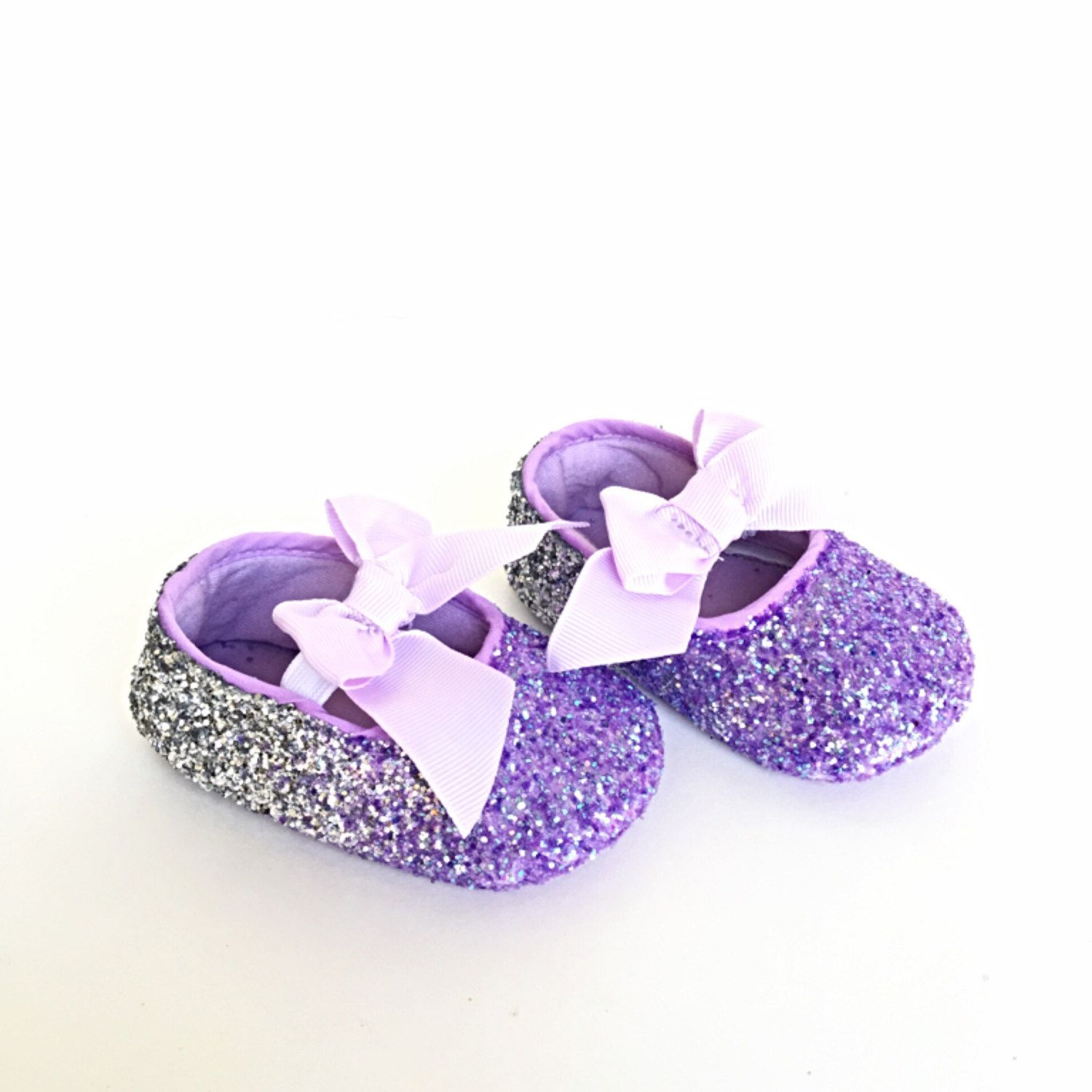 Baby Glitter Shoes Lilac Silver Ombre Booties Lavender Purple