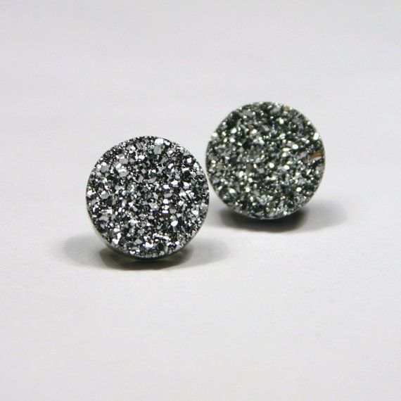 Silver Druzy Stud Earrings Metallic Circle Round Small Bold Genuine Anium Drusy Quartz Gemstone Jewelry For Women Sterling Posts Bald Hairstyles