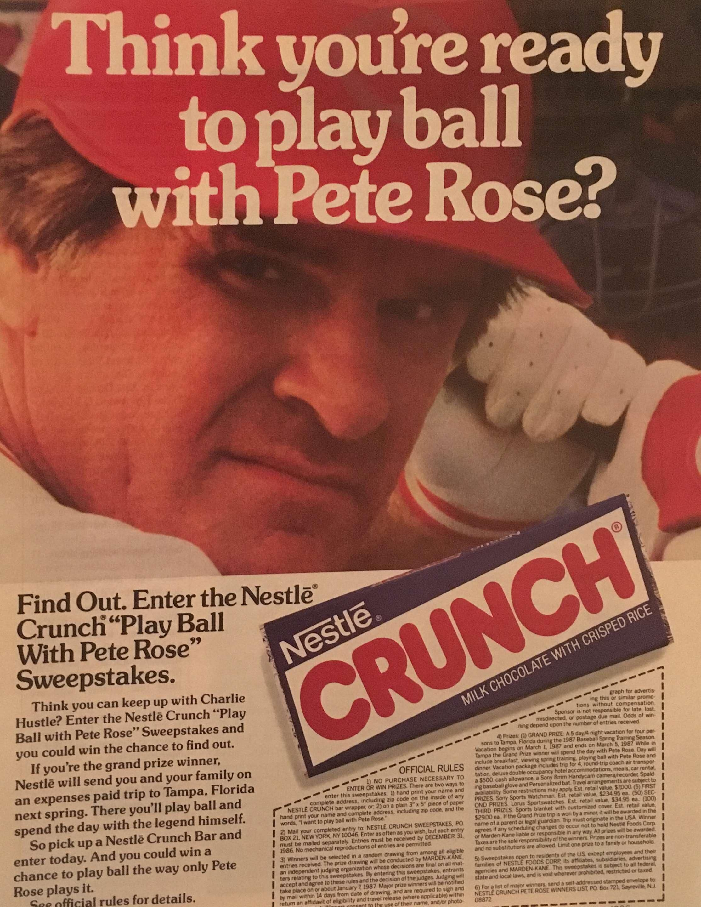 Pete Rose vintageads Ads vintage PrintAd tvads