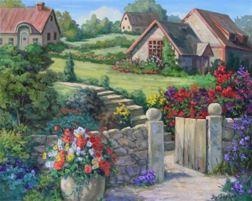 """""""Hillside Garden"""" - Original Fine Art for Sale - © Joy Campbell"""