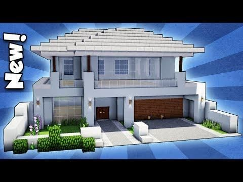 Minecraft How To Build A Modern House Easy Tutorial Modern Minecraft Houses Minecraft Modern Easy Minecraft Houses