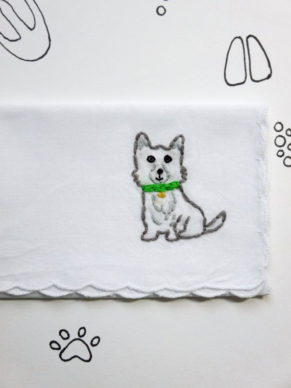 Embroidered Dog Hankie Gift Dog Gift Cute Dog Accessory Dog ...