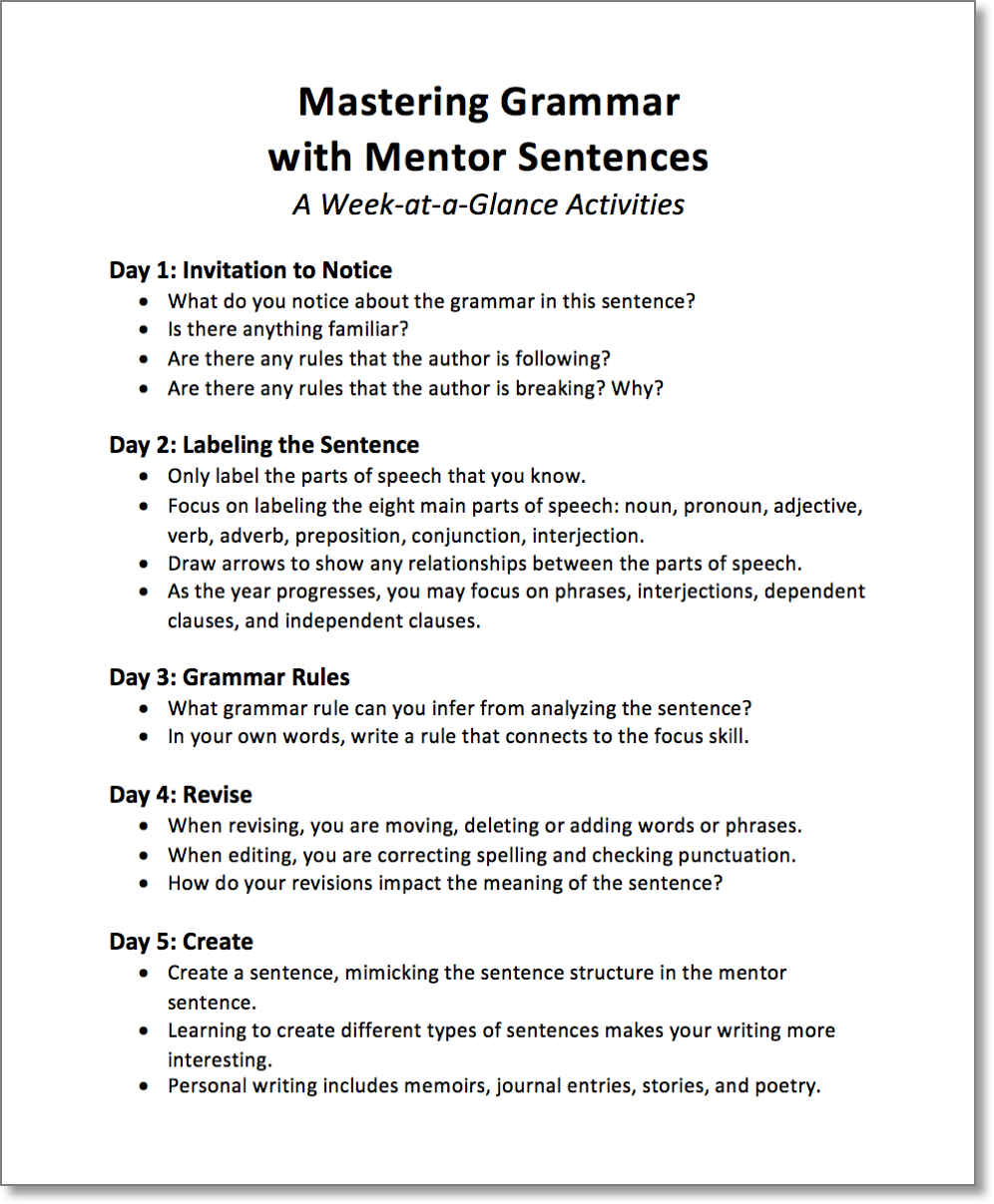 Mastering grammar with mentor sentences part 2 walks you through mastering grammar with mentor sentences part 2 walks you through four grammar bell ringer activities using mentor sentences harvested from classroom stopboris Image collections