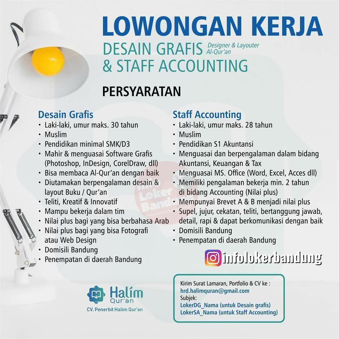 Lowongan Kerja Desain Grafis Staff Accounting Cv Penerbit Halim