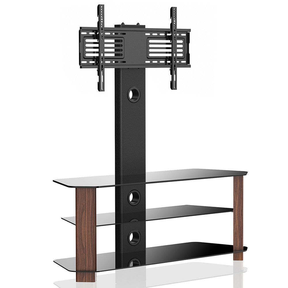 Floor Tv Stand With Swivel Mount 3 Shelves For 42 55 Lcd Led Tvs Tw311002mb Glass Shelves In Bathroom Shelves Tv Stand With Swivel Mount