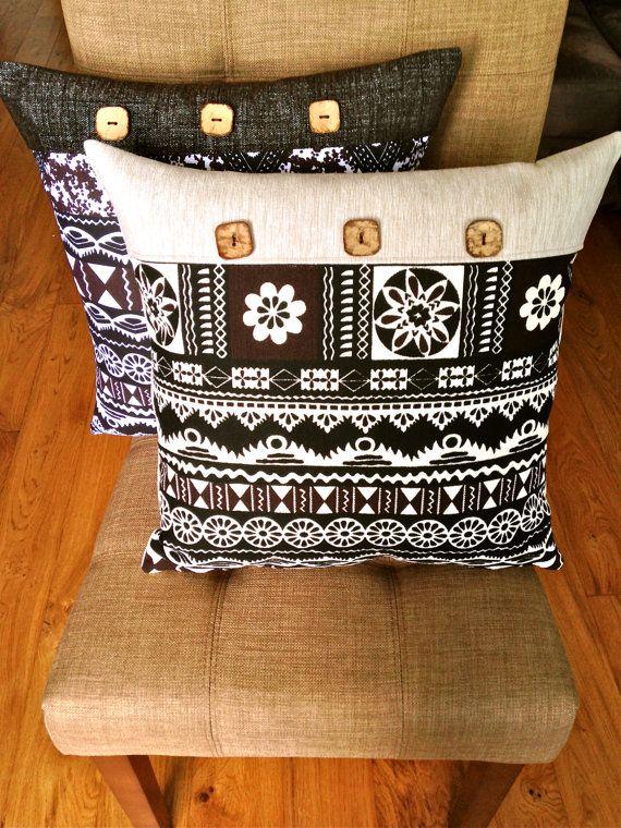 a77528511546d Fiji Island Masi/Tapa Coconut Button Cream Cushion by Kaukauwa   my ...