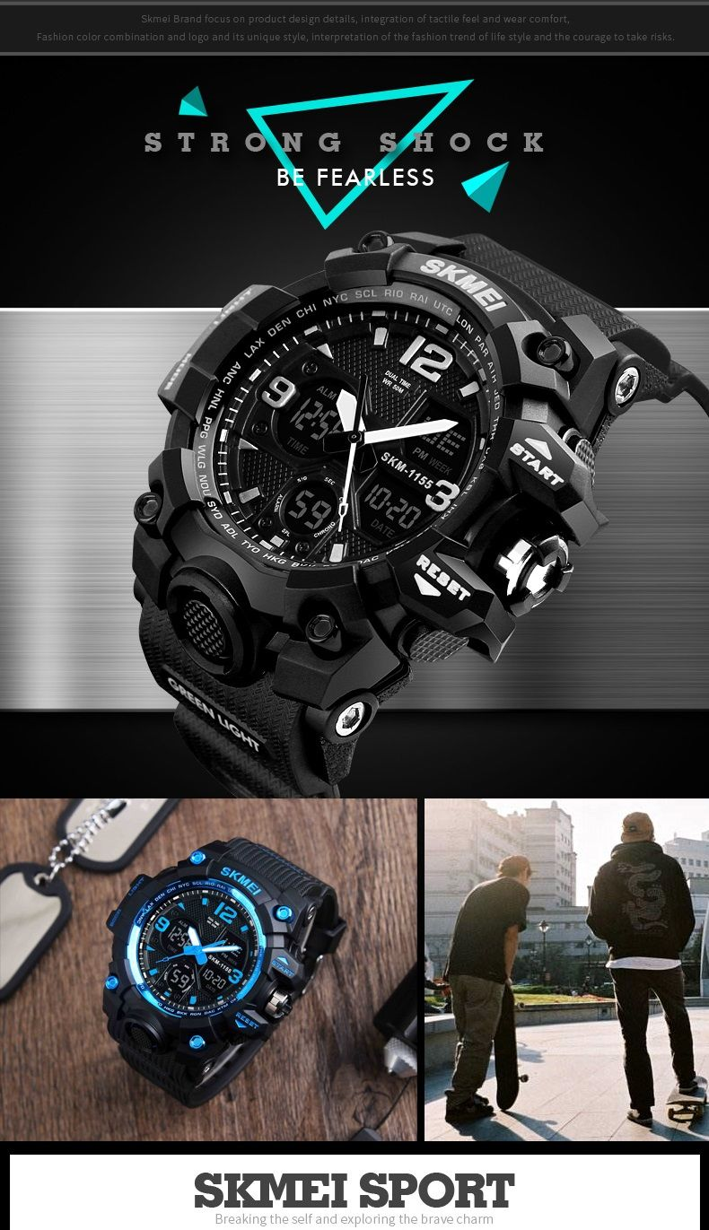 SKMEI 1155 50M Waterproof Men Sport Watch Camouflage Compass LED Digital  Watch b57c82a3d21