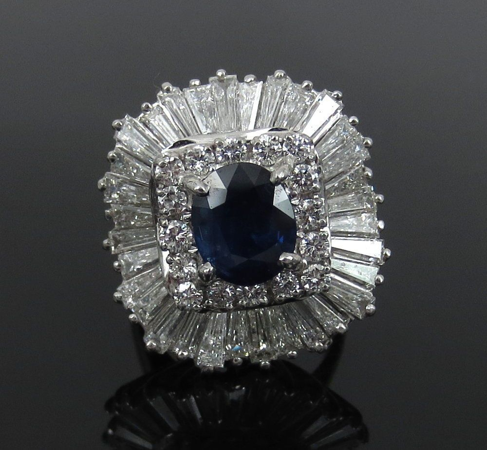 edb1b6187f3 Vintage 6.0ct Diamond   2.22ct Natural Sapphire Platinum Ballerina Pendant  Ring