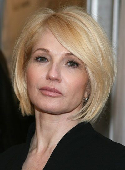 Cute Bob Haircut With Long Side Swept Bangs Ellen Barkin Still Has