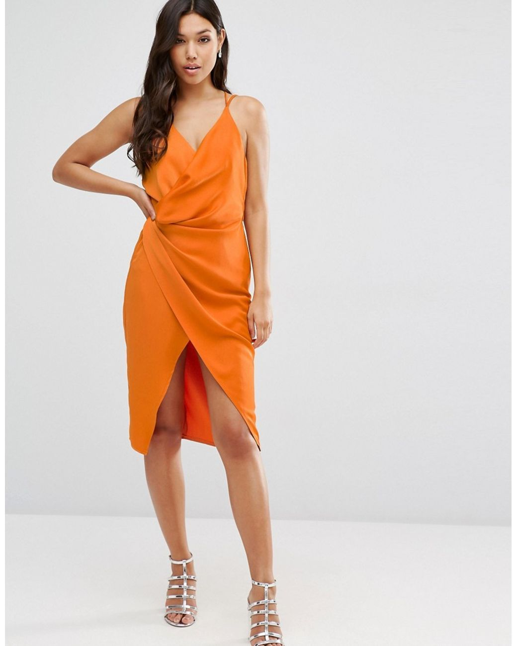 Asos Orange Strappy Drape Front Midi Dress Orange Midi Dress High Fashion Street Style Fashion [ 1300 x 1040 Pixel ]