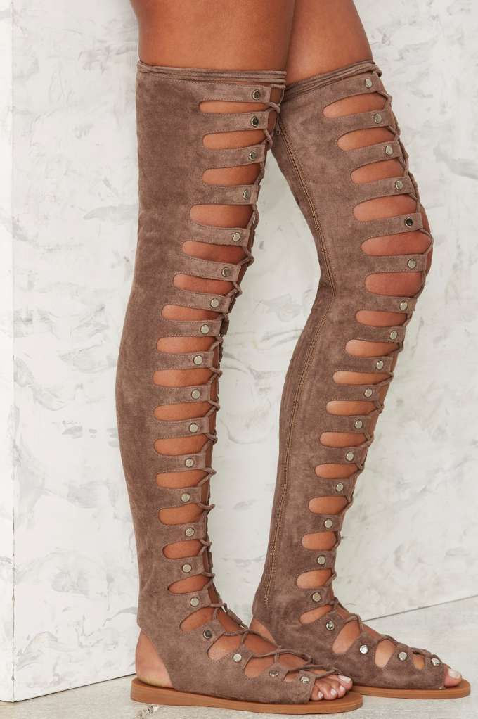 f73f09aed71 Jeffrey Campbell Olympus Suede Gladiator Sandal - Taupe - Shoes ...