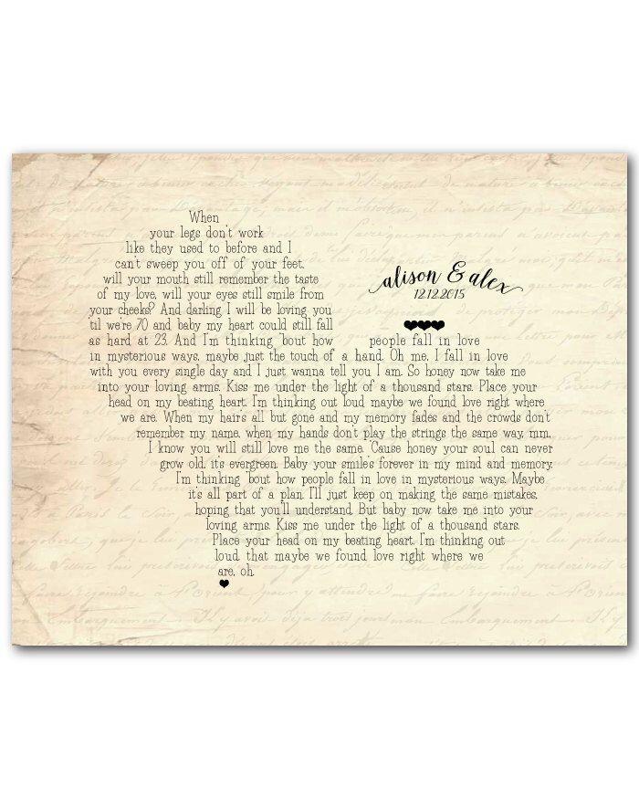 Any Song Lyrics Customized Anniversary Wedding Gift Wedding Song