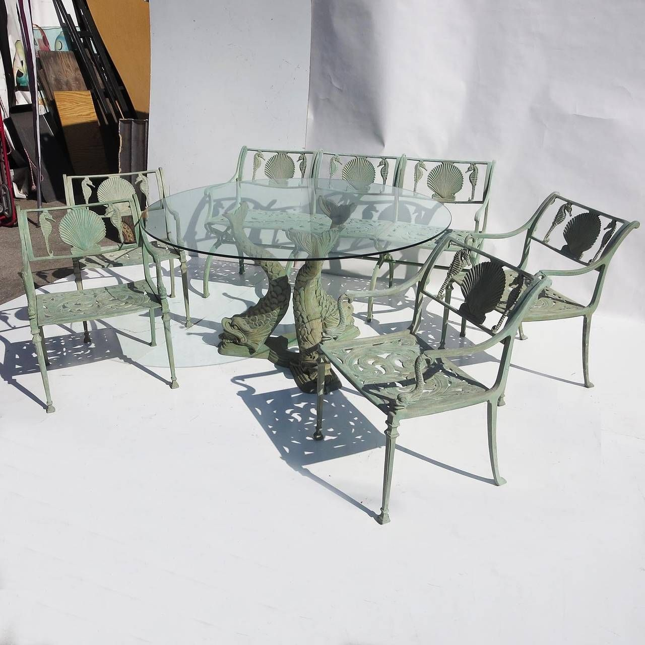 Seahorse and Shell Motif Patio Suite by Molla NYC | From a unique collection of antique and modern garden furniture at https://www.1stdibs.com/furniture/building-garden/garden-furniture/