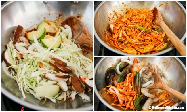 Homemade Korean spicy seafood noodle soup (Jjamppong) - Making soup 1| MyKoreanKitchen.com