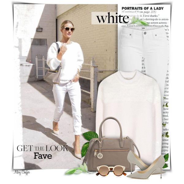Get the Look by mcheffer on Polyvore featuring Vanessa Bruno, Paige Denim, Jimmy Choo, DKNY, Illesteva, GetTheLook and WhiteOnWhite
