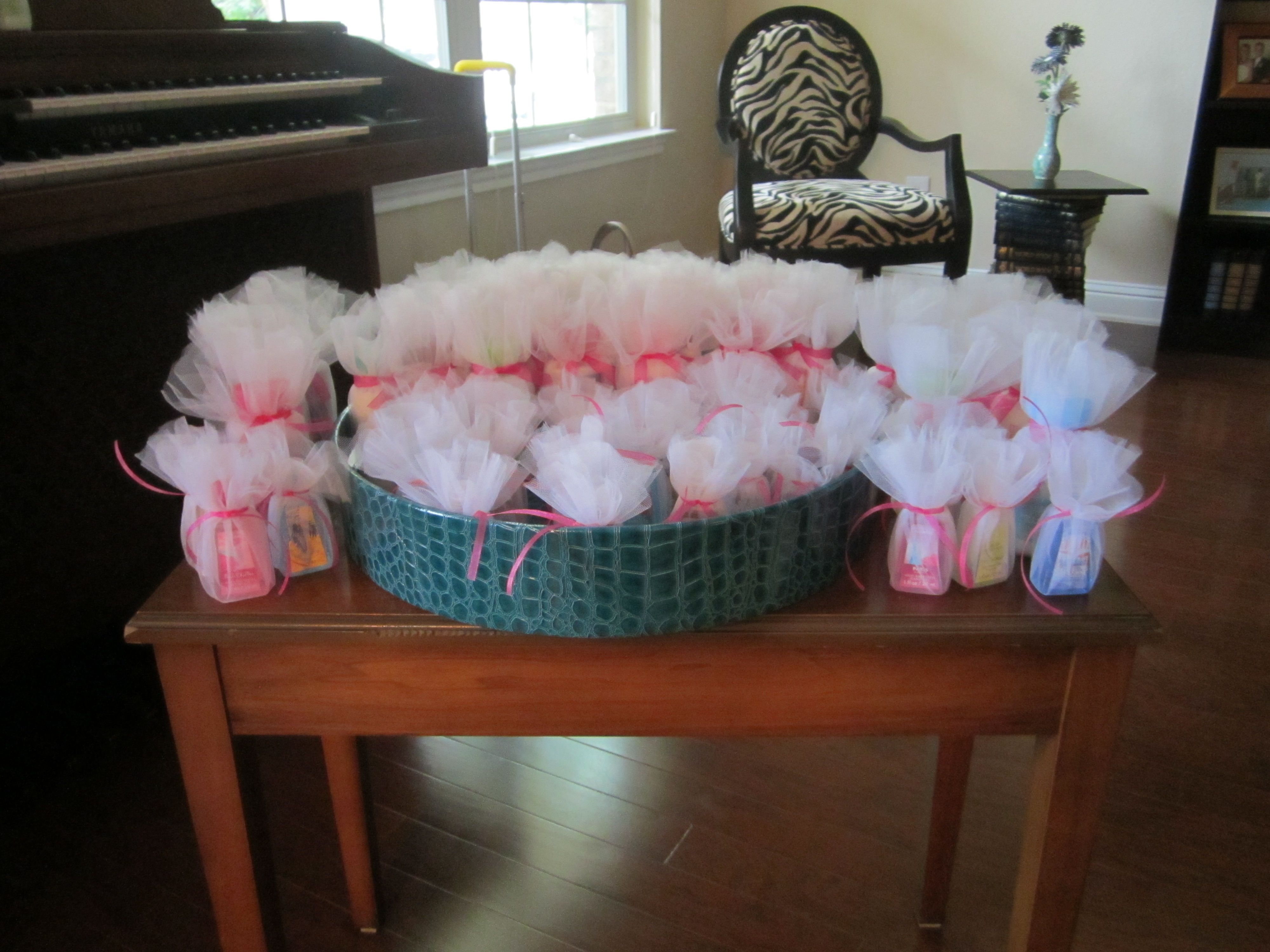 wedding shower game ideas pinterest%0A Shower favors  Bath  u     Body Works  Mini lotions  Mini hand sanitizer  Tulle