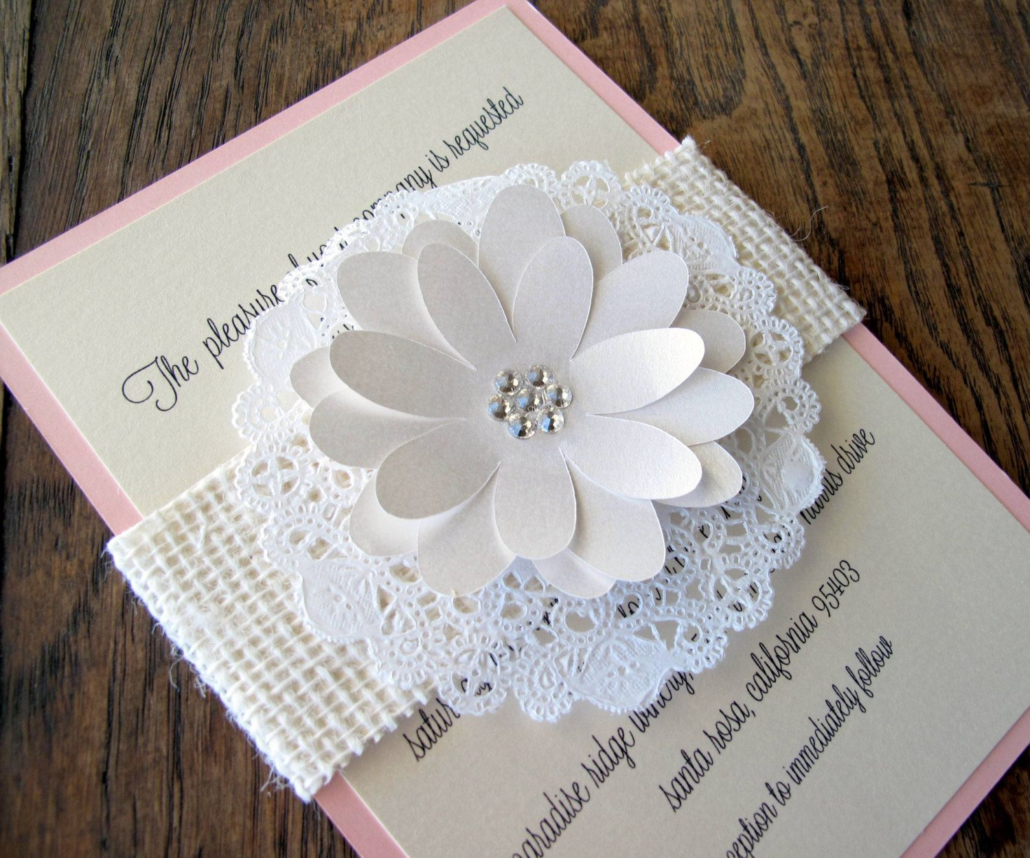 paper doilies colored | Burlap Lace Doily Wedding Invitation by ...